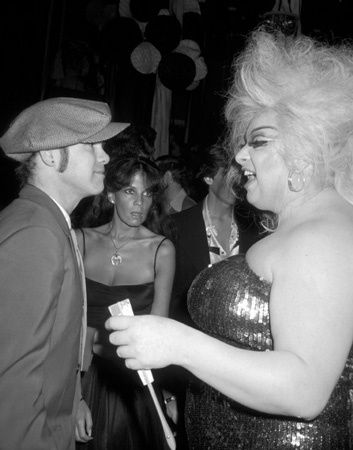 "Elton John and Divine attend the premiere party for the film ""Grease,"" Studio 54, NYC, June 13, 1978"