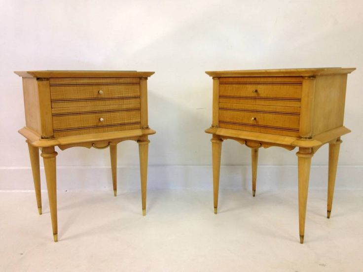 A Pair Of French Sycamore Bedside Tables | vinterior.co