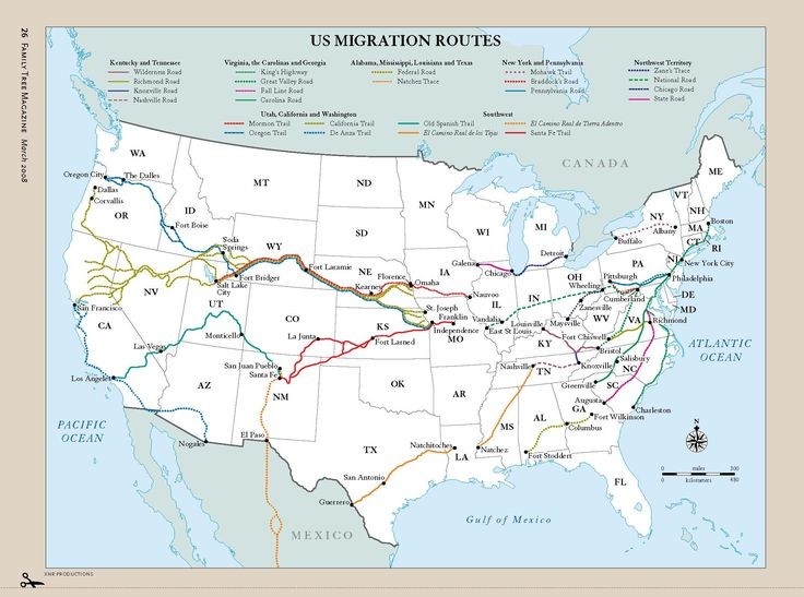 family tree magazines map of popular us migration routes see how your us ancestors got