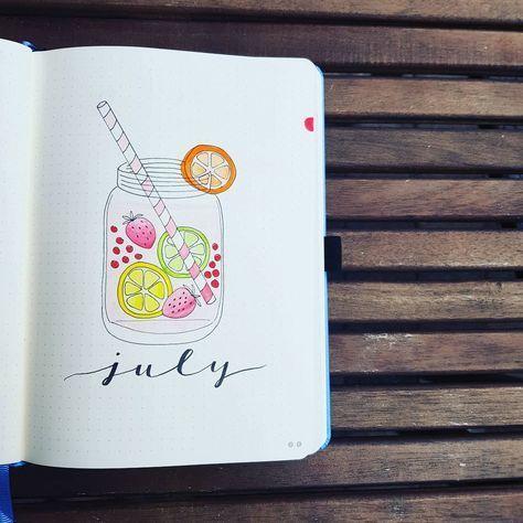 Bullet Journal monatliches Deckblatt, Juli Deckblatt, Limonade Zeichnung. | Danielle LaChance … – #Bullet #danishb #Deckblatt #journal