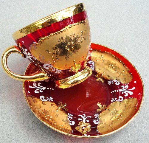 Moser Tea Cup & Saucer Bohemian Czech Ruby Red Glass Gold Enamel Gilt Decor