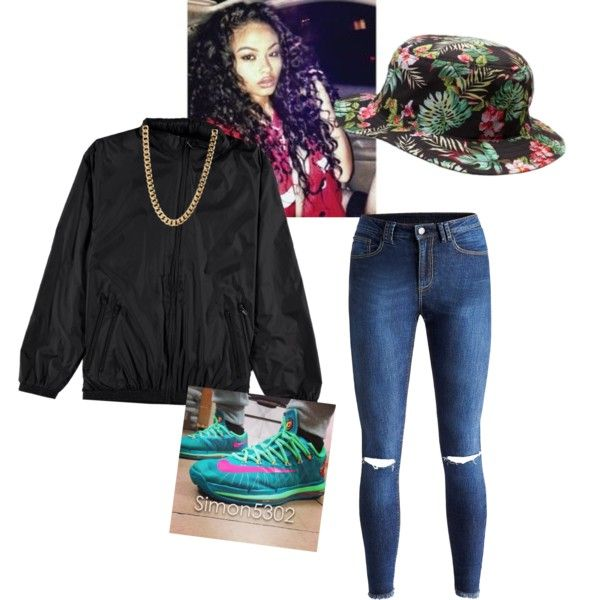 A fashion look from February 2015 Dope girl swag. Tomboy. Ripped jeans. Black windbreaker. Kd 6 ...