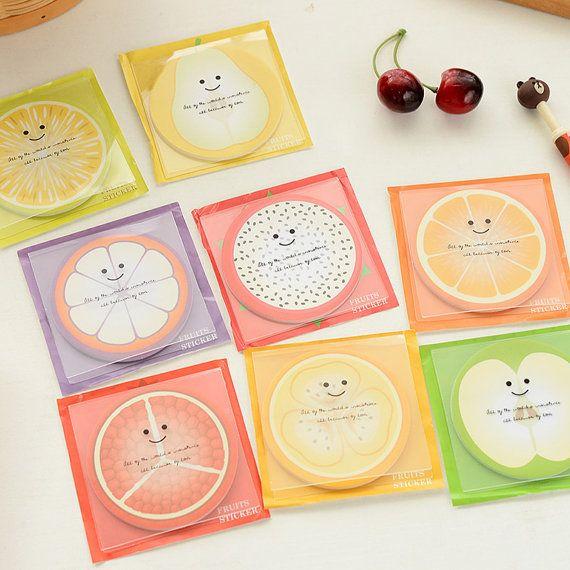Cute sticky notes, Bookmark, Fruits sticky notes