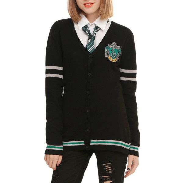 WB Harry Potter Slytherin Girls Cardigan ($33) ❤ liked on Polyvore featuring tops, cardigans, harry potter, hot topic, jackets and slytherin