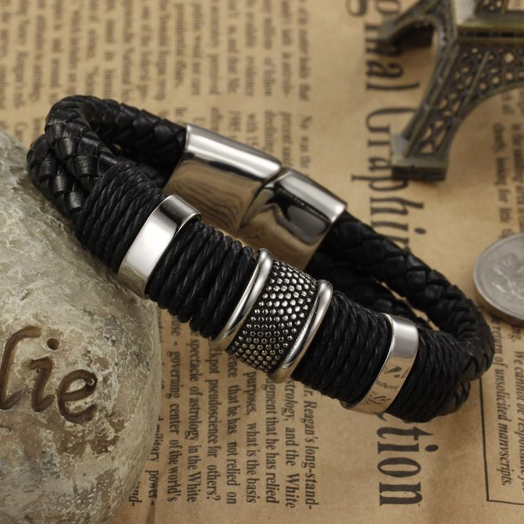 2016 Fashion Brand Men Bracelet Stainless Steel Leather Wristband Vintage Bangles Rock Men Personalized Jewelry Pulseras LPH891
