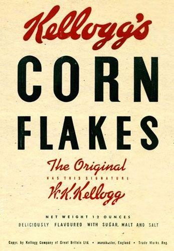 Kellogs corn flakes, breakfast cereal, vintage packaging