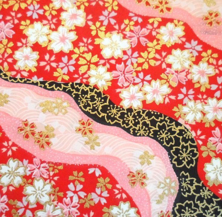 Grande feuille de papier washi japonais Yuzen Rouge et Rivière Rose 20 : Papeterie, carterie par kanekoshop