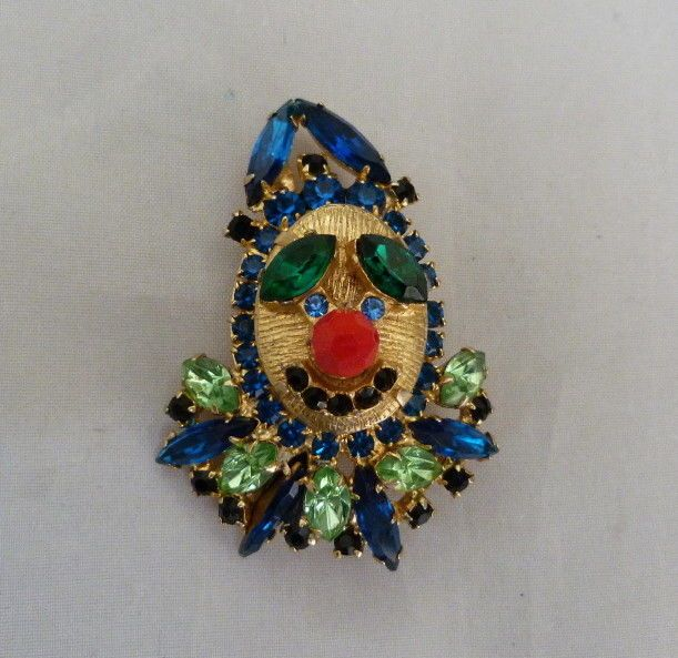 RARE VERIFIED JULIANA RHINESTONE BLUE GREEN BLACK RHINESTONE CLOWN PIN BOOK PC