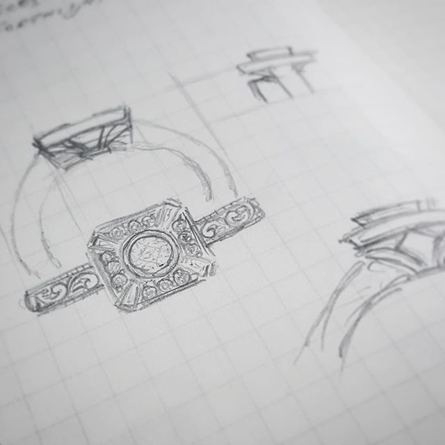 Sketches for a potential ring design. If you're not sure what you're after, we're happy to draw up some options for you, by hand or using a CAD program.