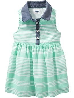 Sleeveless Chambray-Trim Dresses for Baby | Old Navy
