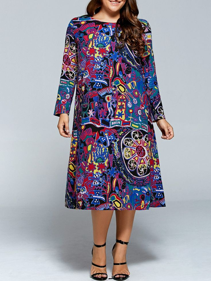 Plus Size Graffiti Print Long Sleeve Dress #shoes, #jewelry, #women, #men, #hats