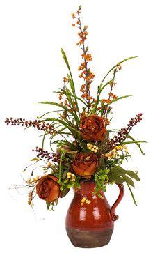 Peony in Pitcher Silk Flower Arrangement traditional artificial flowers $245!!!!!!!!!  JESU'.....