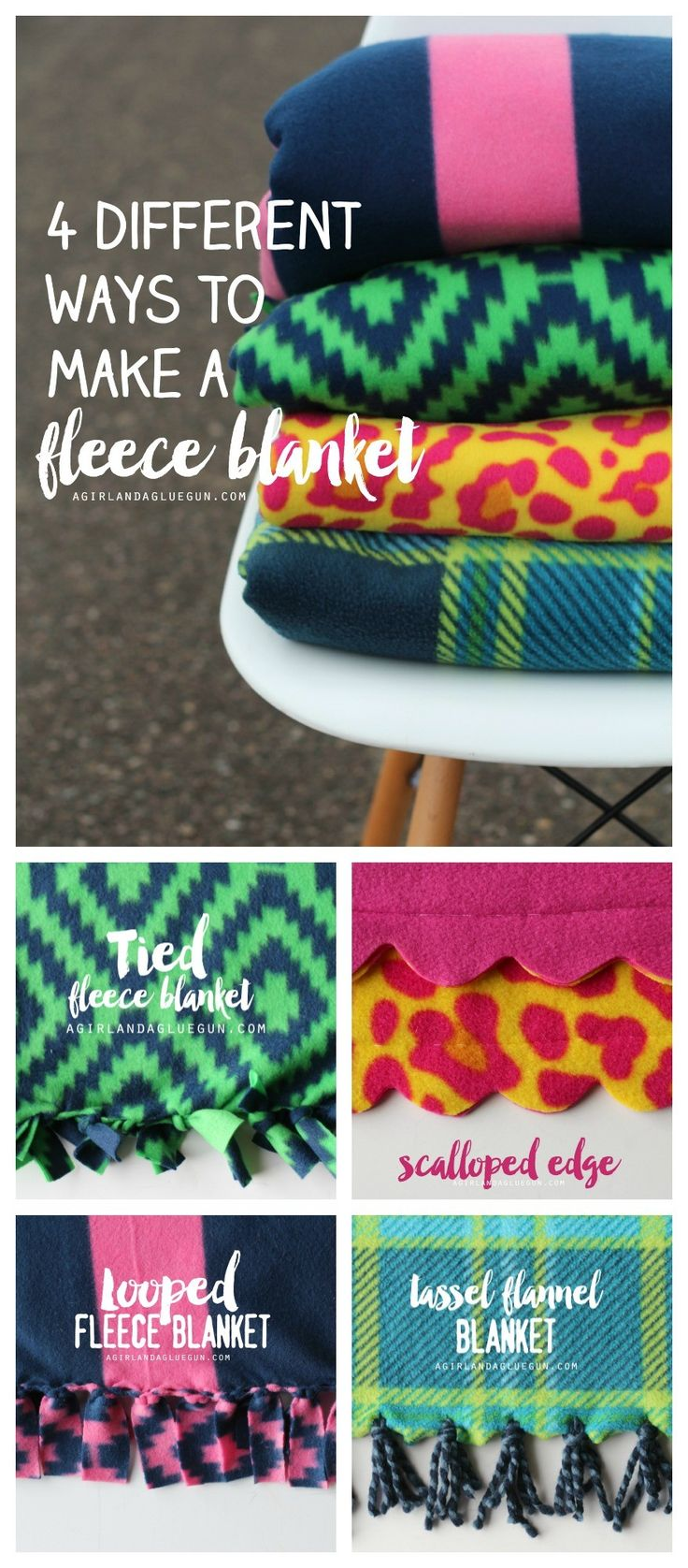 fun different ways to make a fleece blanket a girl and a glue gun