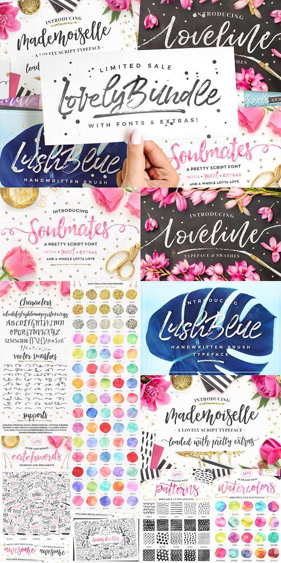 The Lovely Bundle I Fonts + EXTRAS! featuring FOUR brush script
