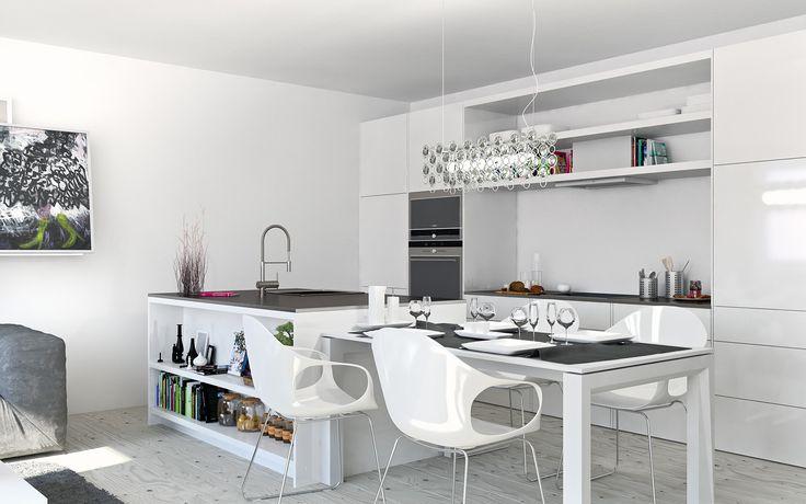 Weiß Wohnküche - Retro-Ufo