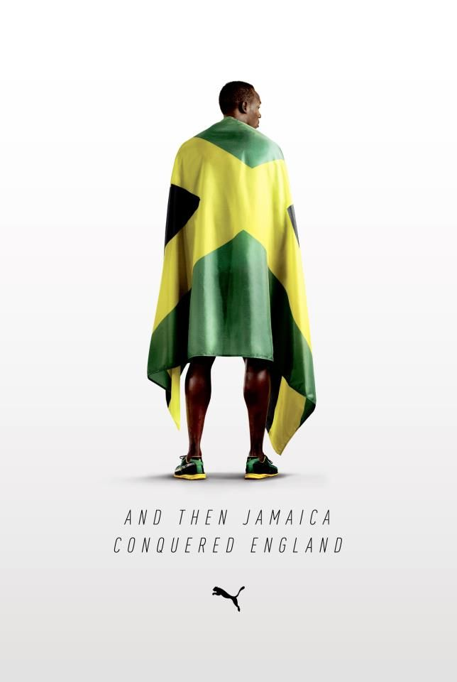 #Puma #advertising with Usain #Bolt : Jamaica conquered England (August 2012)