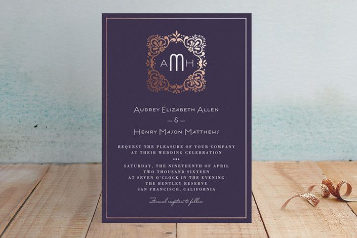 Eventide Foil-Pressed Wedding Invitations by Griffinbell Paper Co. at minted.com