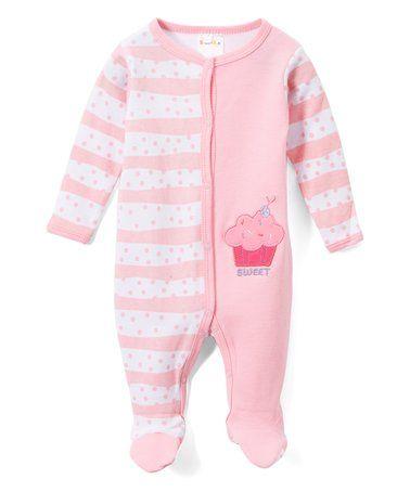 Look what I found on #zulily! Pink Stripe Cupcake Footie #zulilyfinds