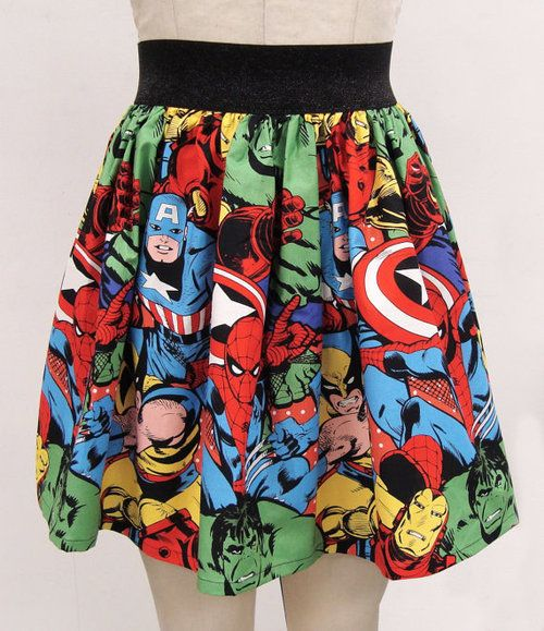 Avengers skirt. AWESOME: Fashion, Style, Skirts, Marvel Superhero, Superhero Skirt, Avengers Skirt, Marvel Skirt