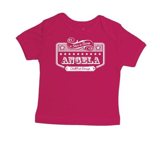 Looking for a personal baby gift? At ChillFish Design we we sell custom made ecolicious baby T-Shirts and bodysuits with the baby's name. This is our Rockstar T-Shirt design, available at chillfishdesign.com.