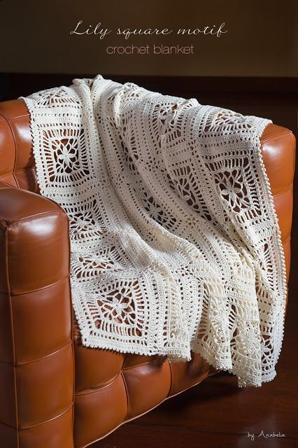 """Lily square"" crochet blanket, pattern - Anabelia Craft Design <3 #crochet #blanket #pattern #anabelia"