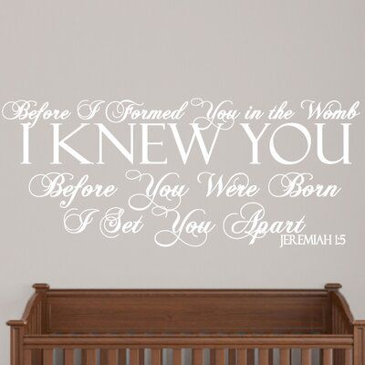 Sweetums Wall Decals Before I Formed You Wall Decal Wall Decals