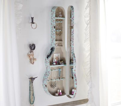 Junk Gypsies guitar case jewelry shelf for their PB Teen collection. Enter for your chance to win one of five $50 giftcards so you can get this item! > http://blog.gactv.com/blog/2014/07/31/the-junk-gypsies-collaborate-with-pottery-barn-teen/?soc=pinterest