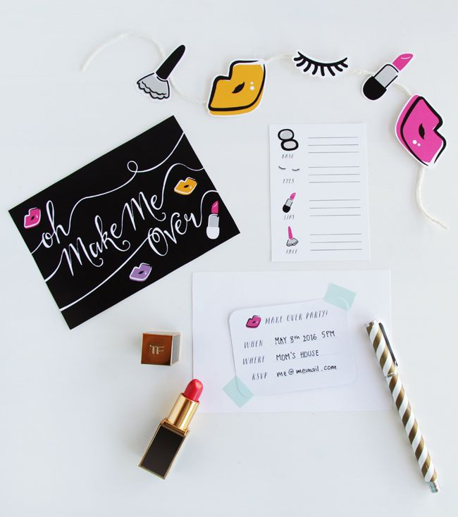 Printable Make Over Party Kit   DESIGN IS YAY!