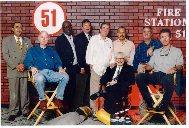 Pictured (left to right):  Ron Pinkard, Kevin Tighe, James McEachin, Mike Stoker, Robert Fuller, Bobby Troup (seated), Marco Lopez, Tim Donnelly, Randolph Mantooth [photo from the 1998 convention]