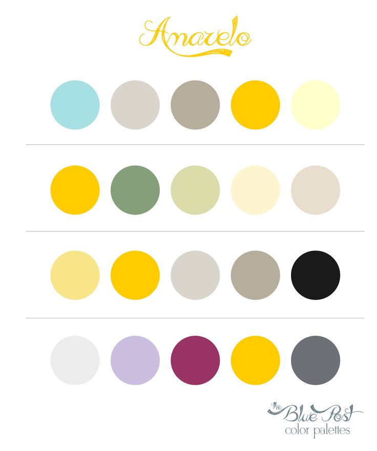 Color Palettes - Yellow  Paleta de cores - Amarelo