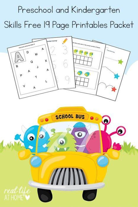 Kindergarten and Preschool Skills Worksheets Printable