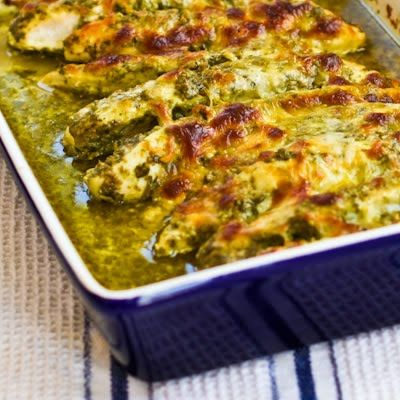 Baked Pesto Chicken(or fish)  (Makes 4 servings, recipe adapted slightly from The South Beach Diet Quick and Easy Cookbook.)    Ingredients:   4 boneless, skinless chickenn breasts  salt and fresh ground black pepper for seasoning chicken  1/2 cup basil pesto (I used my homemade Basil Pesto with Lemon, but you can use purchased pesto.)  2 oz. (1/2 cup) grated low-fat mozzarella cheese: Fun Recipes, Baked Pesto Chicken, Chicken Recipes, Chicken Dinner, South Beach Diet Recipe, Easy Recipes, Easy Dinner For Two Recipe