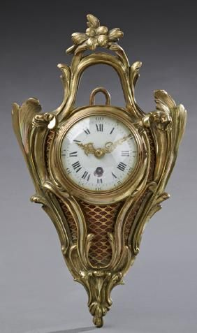 Diminutive French Gilt Bronze Cartel Clock, 20th C.,