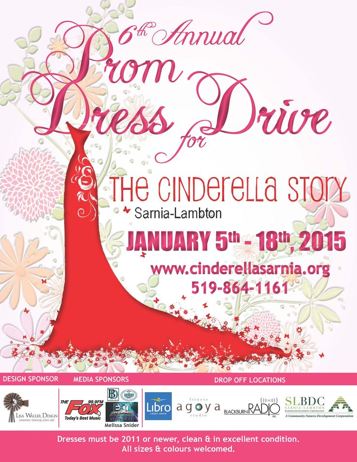 call for dress donations for the annual Cinderella Story!