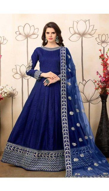 Blue Art Silk Anarkali Churidar Suit With Embroidered Dupatta - DMV14668