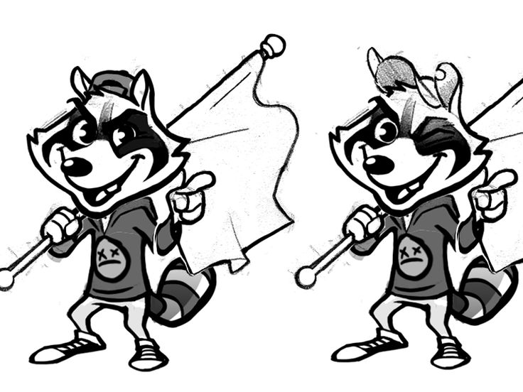 simple plan raccoon design sketches 02