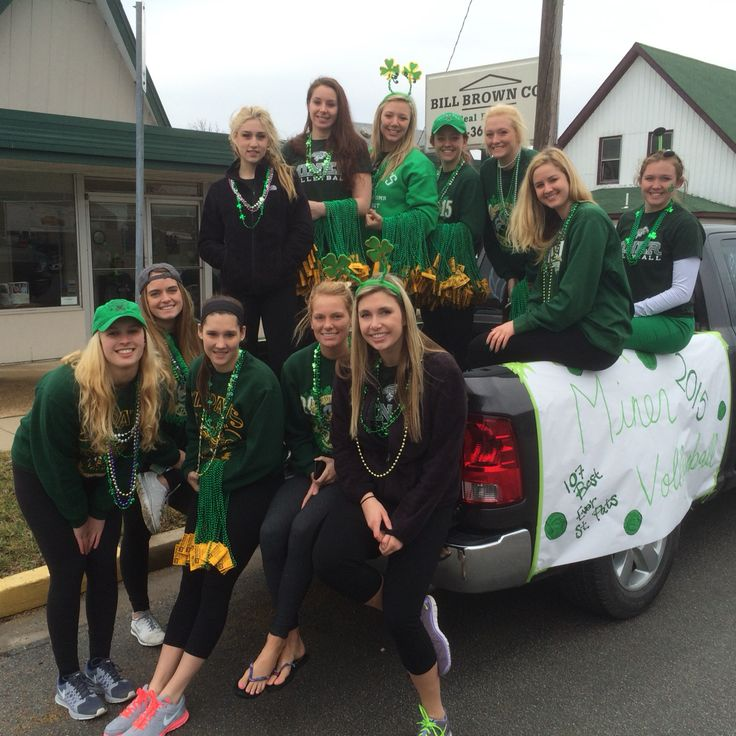 The team before the 2015 St. Pats Parade. This was the eighth Best Ever St. Pats Parade the MinerVB has participated in, passing out beads, candy & upcoming home match schedule cards to parade goers.