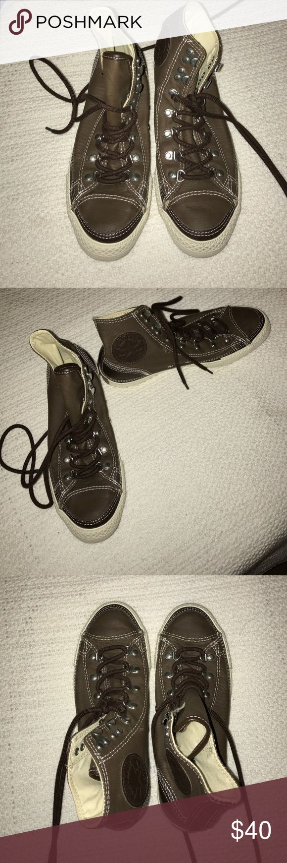 High top leather chucks Only worn once! Brown high top converse Converse Shoes Sneakers
