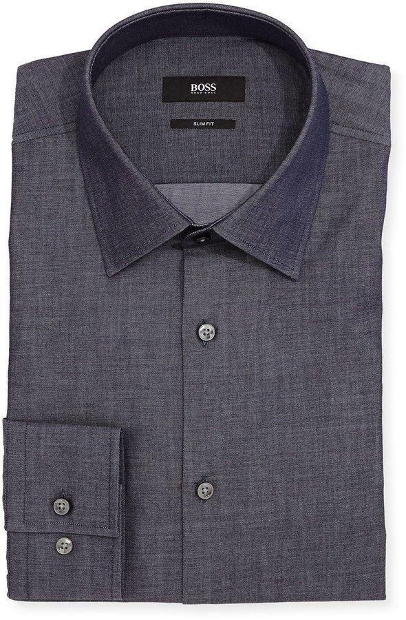 Boss Hugo Boss Slim-Fit Chambray Dress Shirt, Blue