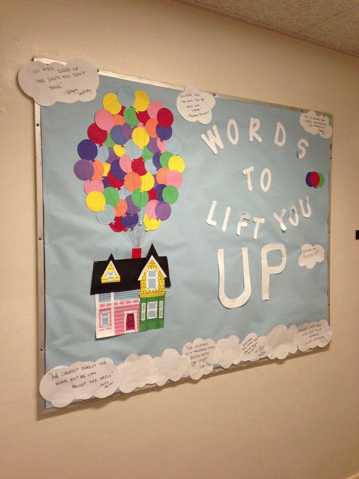 RA bulletin board! Pixar's Up themed! Good bulletin board during midterm season!