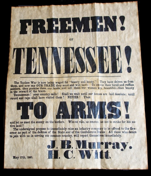 Freemen Of Tennessee Recruitment Poster 1861			  	  	  F