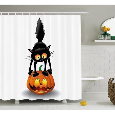 Halloween Decorations Shower Curtain Black Cat On Pumpkin Spooky Cartoon Characters Humor Art Fabric Bathroom Set With Hooks 69W X 70L Inches