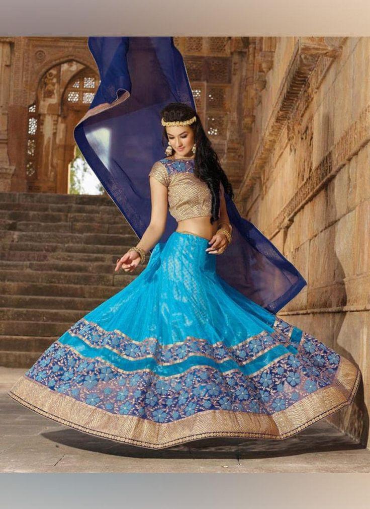 Blue Net Lehenga Choli #indiandresses #indianweddingdresses