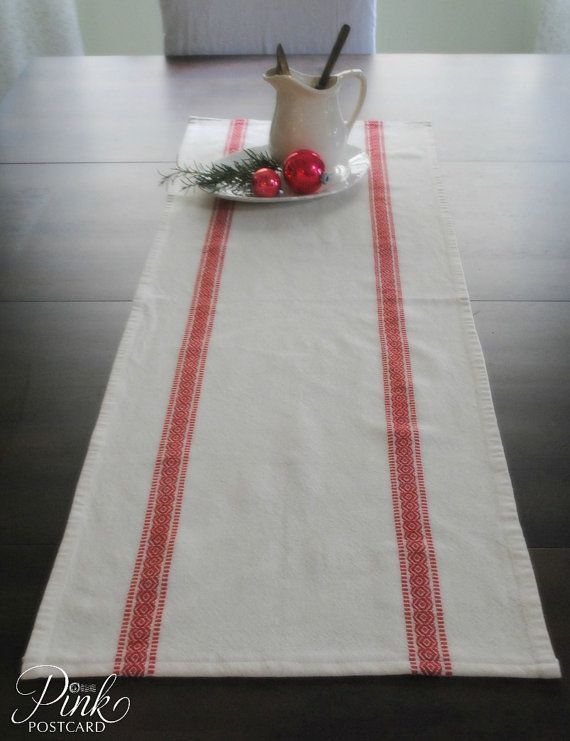 Farmhouse table runner Scandinavian stripe white by PinkPostcard