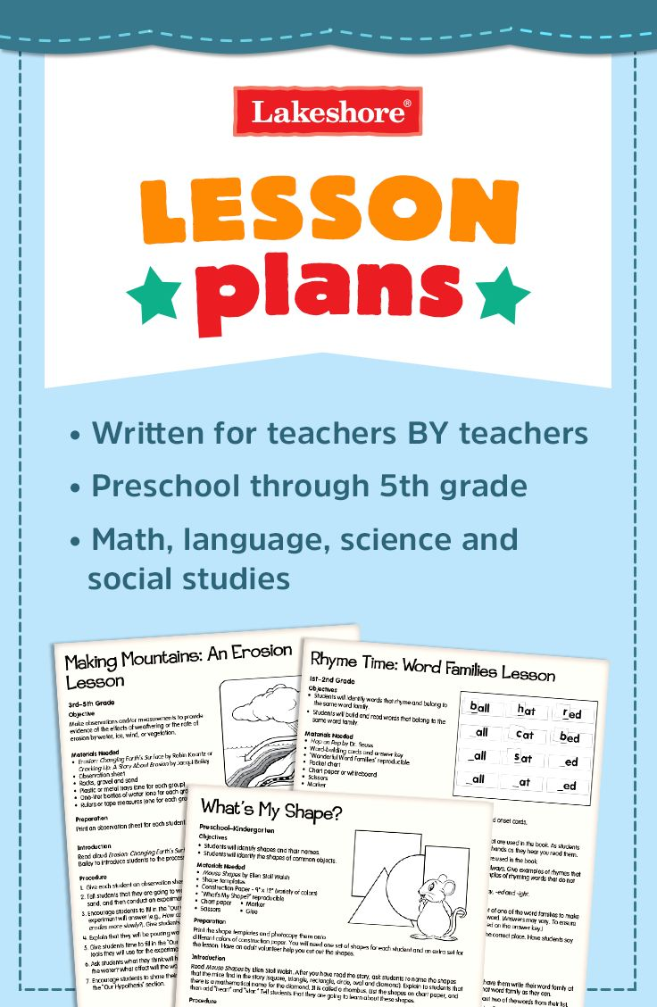 Look to Lakeshore for free lesson plans for language, math, science, and social studies! Our lesson plans were written by former teachers—and are great for preschool through fifth-grade student