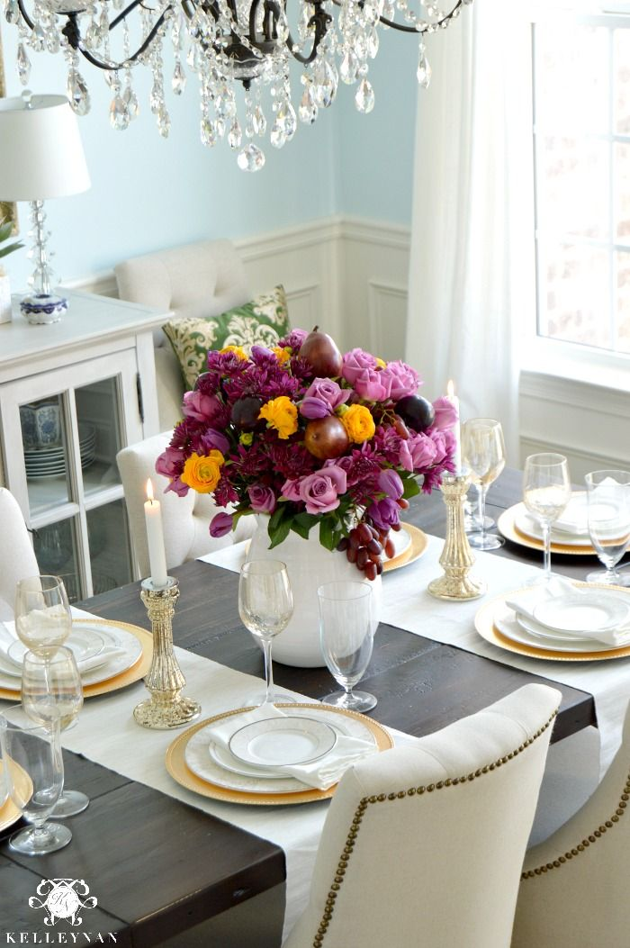 Pretty Spring Table with Floral Arrangement