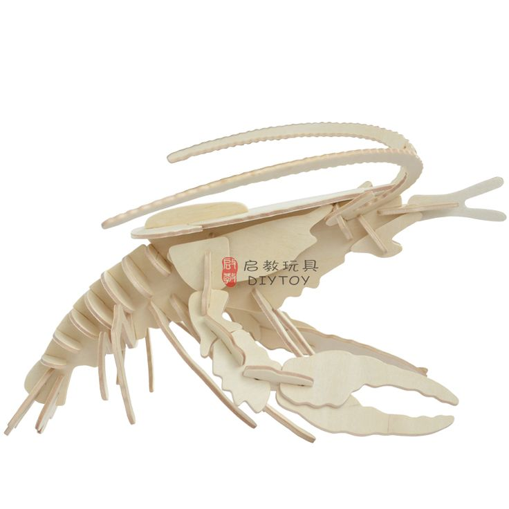 Lobster----Woodcraft Construction Kit Kid Wooden Building Puzzle Model Game