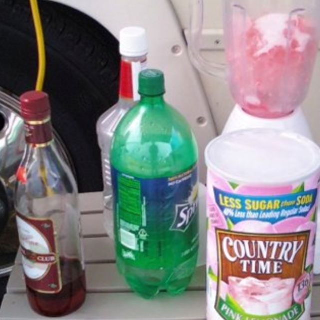 Pink Panty Pulldowns!  1 capful of dry lemonade 4 oz vodka 1 cup sprite Splash of grenadine Ice Mix in blender until ice is crushed.  Drink slushy with straw. Amounts can change per taste. More vodka if necessary!