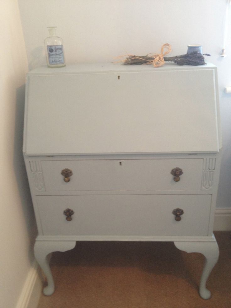 Writing Bureau Painted In A Soft Blue Painted Furniture