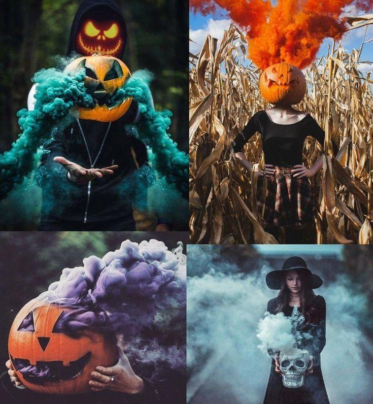 Fotoshooting mit Farbbomben Halloween ideen Jack O'Lantern